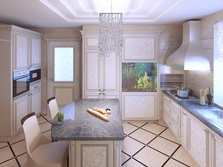 kitchen countertops: Art deco kitchen with painted furniture. Polished dark stone countertops, Built-in Aquarium in interior. 3D render Stock Photo