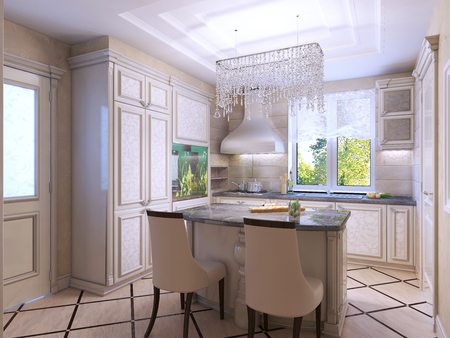 kitchen cabinets: Beautiful kitchen art deco style. Frontal patterned cabinets, dark stone countertops.  3D render