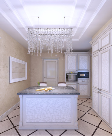 cabinets: Interior of new white kitchen with beautiful pattern-front cabinets. Cream textured walls. 3D render Stock Photo