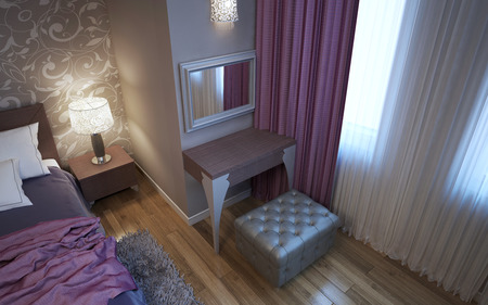 wood flooring: Dressing table in art deco style bedroom. Upholstered grey ottoman. Matt plaster walls with decorations. 3D render