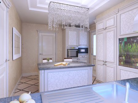 cabinets: Elegant avantgarde kitchen with island. Diagonal tile flooring, patterned cabinets. White furniture with molding. 3D render
