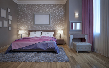 Hotel slaapkamer met kaptafel. 3D render