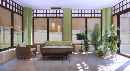 Große Wintergarten-Designidee. Helle Kalkwände und braune Möbel und Fensterrahmen. Keramikfliesen im Innenraum. 3D-Rendering
