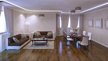 Panoramic view of living room studio in modern apartments. Plaster textured walls and polished laminate flooring. Neon lights in daylight. 3D render