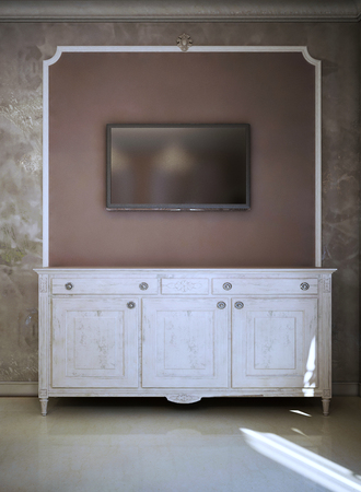 mocks: Modern And art deco TV Console Design. White colored console. Wall with molding. 3D render