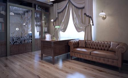 Baas kantoor in moderne stijl. Bruine kleur in het interieur. Donker bruin eiken meubilair en een leren bank. Lichtbruine laminaatvloer. 3D render