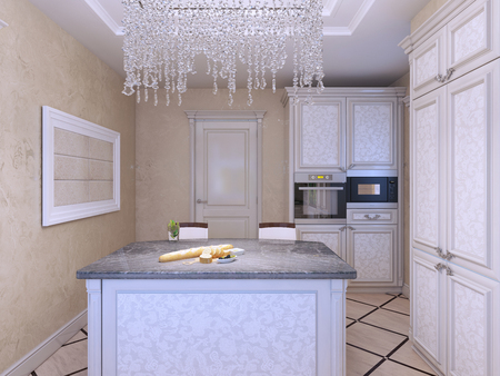 kitchen island: Art deco styled kitchen with island bar. 3D render
