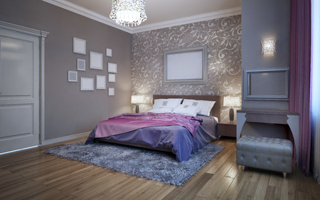 Guests bedroom in private house. Fusion in interior, decoration of wall. 3D render Stok Fotoğraf