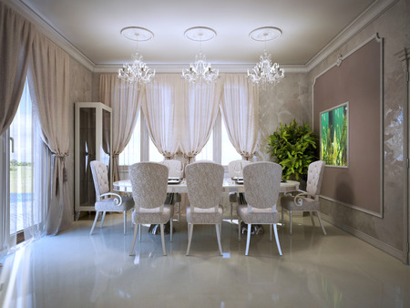 glossy: Cozy dining room in retro style. Fabric upholstered dining chairs, Polished concrete flooring. 3D render