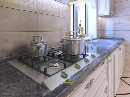área de trabajo en la cocina moderna. Luz estufa de gas de color gris con la cacerola de acero inoxidable. encimera de granito y la pared posterior del azulejo crema. 3D rinden