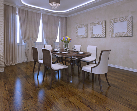 cream colored: Dining room in modern style. Closet curtains, neon lights, cream colored walls. Brown table and white chairs. Daylight. 3D render