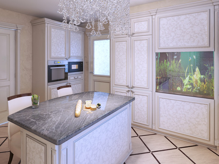 kitchen cabinets: Bright expensive kitchen design. Kitchen island bar with granite countertop. Crystal lamp and aquarium in a modern interior. 3D render Stock Photo