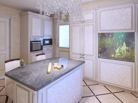 cucina moderna: Brillante costoso disegno della cucina. bar dell'isola cucina con piano in granito. lampada di cristallo e l'acquario in un interno moderno. rendering 3D