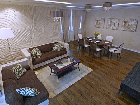 mahogany: Luxury studio apartments in modern design. Beautiful  leather sofas and mahogany wood low table. 3D render