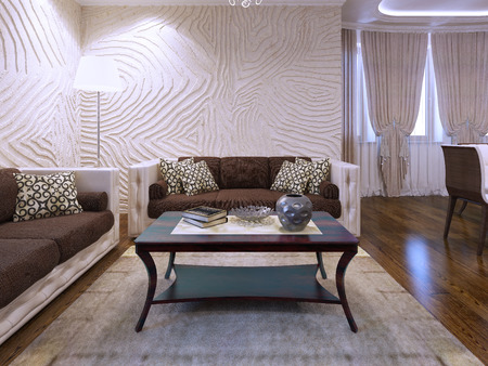 carpet and flooring: Beautiful brown furniture in living room. Wool carpet and polished parquet flooring. Wave textured walls. 3D render Stock Photo