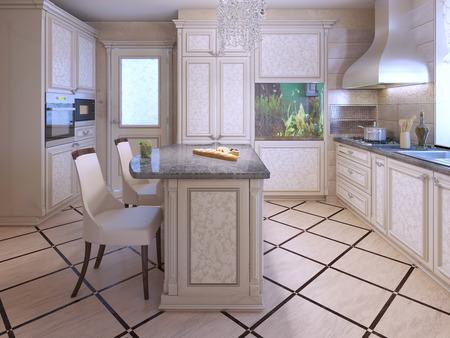 Amazing #50515011   Ein Inter Eines Reichen Hausküche. Mit Fliesen In Küche Unter.  Aquarium Als Dekor In Modernen Apartments. 3D übertragen