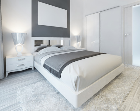 Bedroom in contemporary style in white and gray colors. Master bedroom with sliding wardrobe and mockup poster on the wall. 3D render.