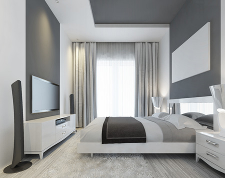 inlays: Luxurious bedroom with a large window to the floor in a Contemporary style. Gray inlays on the ceiling and on the wall. On the wall of media system with TV and mockup poster. 3D render. Stock Photo