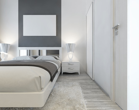 poster bed: Modern bed with mirrored headboard and bedside tables with lamps. Near the bed a large sliding wardrobe and a white shaggy carpet. Above the bed mockup poster. 3D render.