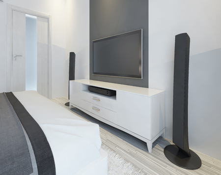 TV and music speakers in modern light bedroom. 3D render.