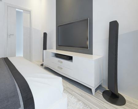 sound system: TV and music speakers in modern light bedroom. 3D render.