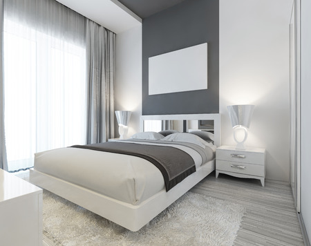 흰색과 회색 색상의 아트 데코 스타일의 침실. 침대 옆 테이블과 밤 램프와 현대주의 깊게 누워 침대. 벽에 모형 포스터. 3D 렌더링. 스톡 콘텐츠