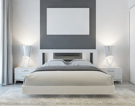 poster bed: Front view of art deco bedroom with mocap poster on the wall with two night tables and a white shaggy carpet. Soft light from the window falls into the luxury bedroom. 3D render. Stock Photo