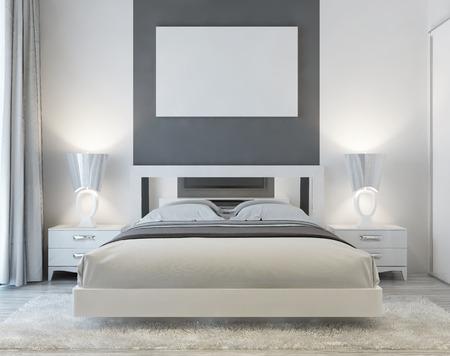 Vista frontal del arte deco de habitación con el cartel mocap en la pared con dos mesitas de noche y una alfombra lanuda blanco. La luz suave desde la ventana entra en la habitación de lujo. render 3D.