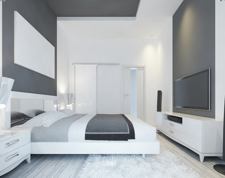 soft colors: Luxury bedroom with a bed in a modern style in soft gray and white colors. Large sliding wardrobe and media system. On the wall poster mockup. 3D render. Stock Photo