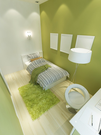 Room for a teenager in a modern style in light green and white colors. A bed, a floor lamp and a workplace for a teenager. 3D render. Stock Photo