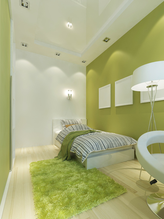 room: Childrens Room Contemporary-style in light green color with white furniture. 3D render.