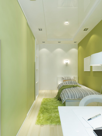 yellow green: Design teen room space in the narrow room. Interior Contemporary style in light green and white colors. 3D render. Stock Photo