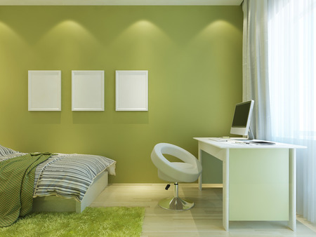 frame wall: Room for a teenager in a modern style with mockup posters on the wall. The room is made in light green colors with white furniture. 3D render.