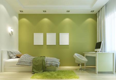 ベッドと机付きの現代的なスタイルの子供部屋をデザインします。薄緑色の壁とすべての家具は白です。壁のポスターのモックアップ。3 D のレンダ 写真素材