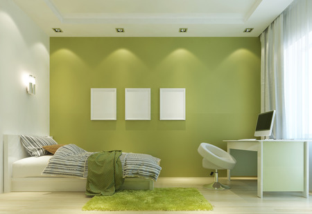 room: Design a childs room in a Contemporary style, with a bed and a desk. The walls in light green color, and all the furniture is white. On the wall poster mockup. 3D render. Stock Photo
