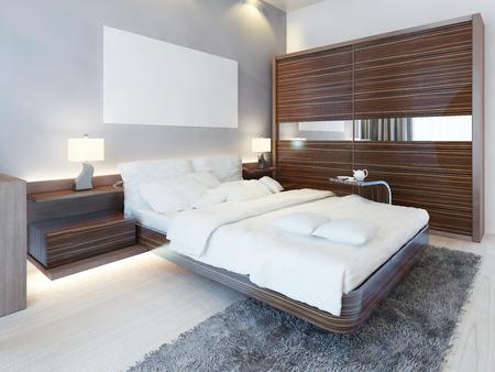 Współczesna sypialnia w białych kolorach i mebli Zebrano. Luksusowe łóżko, dwie szafki nocne z lampkami i szafa przesuwne. 3D render.