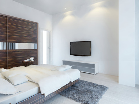 inserts: Bedroom with TV and a media console with a large sliding wardrobe with mirror inserts. Furniture made of zebrawood. 3D render.