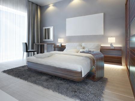Große Luxus-Schlafzimmer Im Modernen Stil Weiß, Braun Und Grau ...