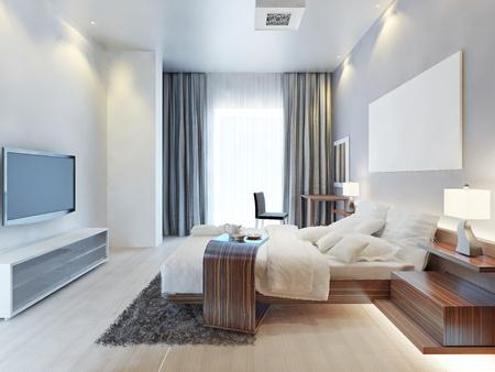 디자인 침실 나무 가구가있는 현대적인 스타일의 객실 Zebrano 및 흰색 인테리어 및 직물. 침실에는 큰 창문과 밝은 색상의 TV 콘솔이 있습니다. 3D 렌더링