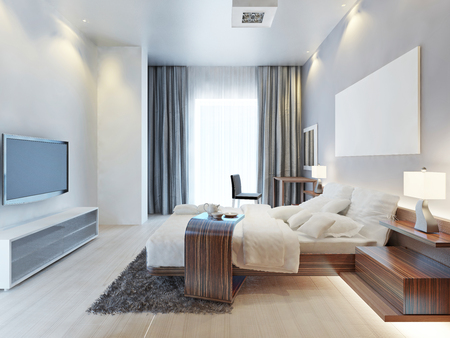 Design bedroom Contemporary-style room with wooden furniture Zebrano and white interiors and textiles. The bedroom has a large window and TV console in bright colors. 3D render.