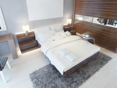 shaggy: Contemporary bedroom in bright colors with brown furniture and a shaggy gray carpet. 3D render. Stock Photo