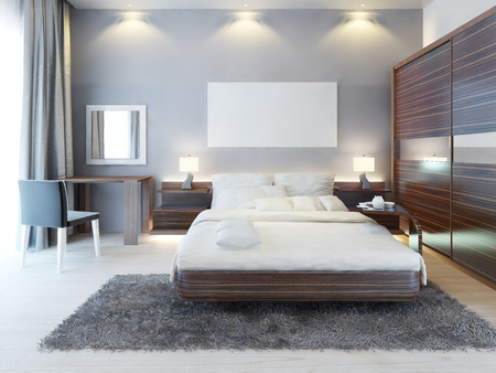 bedroom wall: Front view of the bedroom in a modern style. A large bed, a dressing table with a chair and a large sliding closet. Above the bed on the wall poster mockup. 3D render.