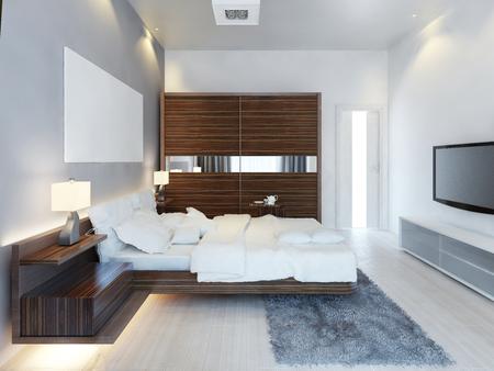 大型スライド式クローゼットとモダンな明るいベッドルームの設計。白い寝室、豪華なソリューションで茶色の家具の考え。3 D のレンダリング。