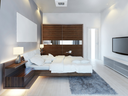 The design of modern light bedroom with a large sliding closet. The idea of brown furniture in a white bedroom, a luxurious solution. 3D render.