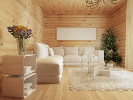 country house style: living room interior in a log house. Interior in modern style with a corner sofa and a green area. Mockup poster on the wall. 3D render.