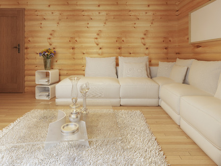 woodburning: Modern living in a log interior with large white corner sofa. Bedside table with magazines and coffee table with decor. 3D render. Stock Photo