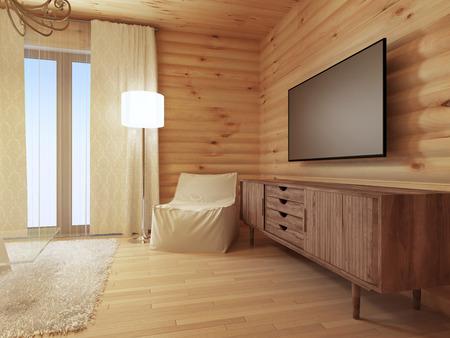 Wood TV console met een comfortabele witte leunstoel en een staande lamp. Houten ladenkast media. 3D renderen.
