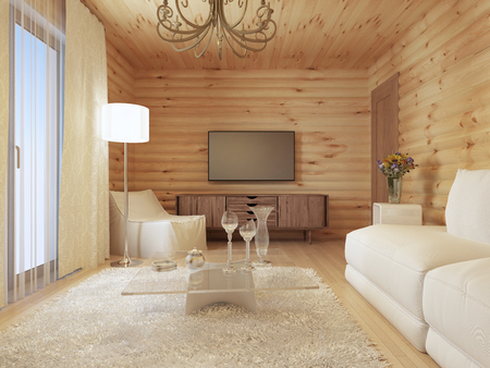 soft tissue: living room interior in a log house with the console and TV, and soft tissue with a sofa chair. 3D render. Stock Photo