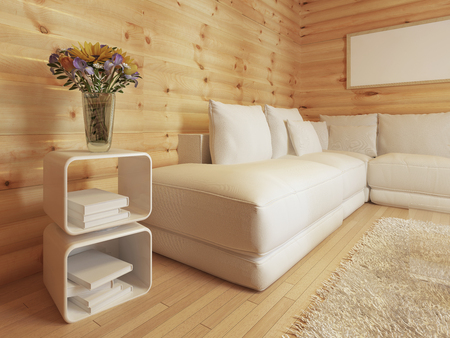 woodburner: Modern living in a log interior with large white corner sofa. Bedside table with magazines and coffee table with decor. 3D render. Stock Photo
