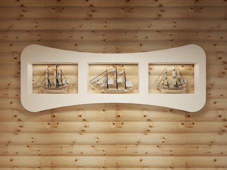 niches: White shelves with niches with models of sea vessels on the log wall. 3D render.